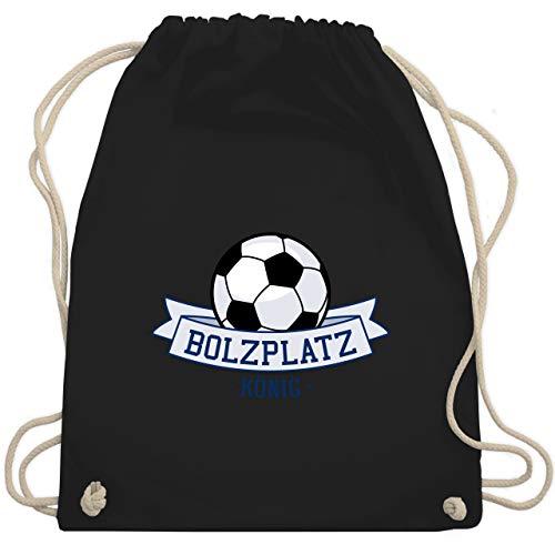 Sport Kind - Bolzplatz König - Unisize - Schwarz - fußball sportbeutel jungs - WM110 - Turnbeutel und Stoffbeutel aus Baumwolle