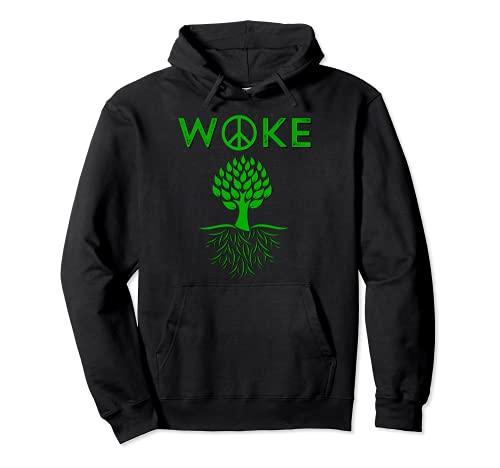 WOKE Peace Tree Roots Progressive Green Vegetariano Vegano Sudadera con Capucha