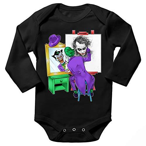 Body bébé Manches Longues Noir Parodie Batman - Le Joker - Drôle d'Autoportrait :(Body bébé de qualité supérieure de Taille 6 Mois - imprimé en France)