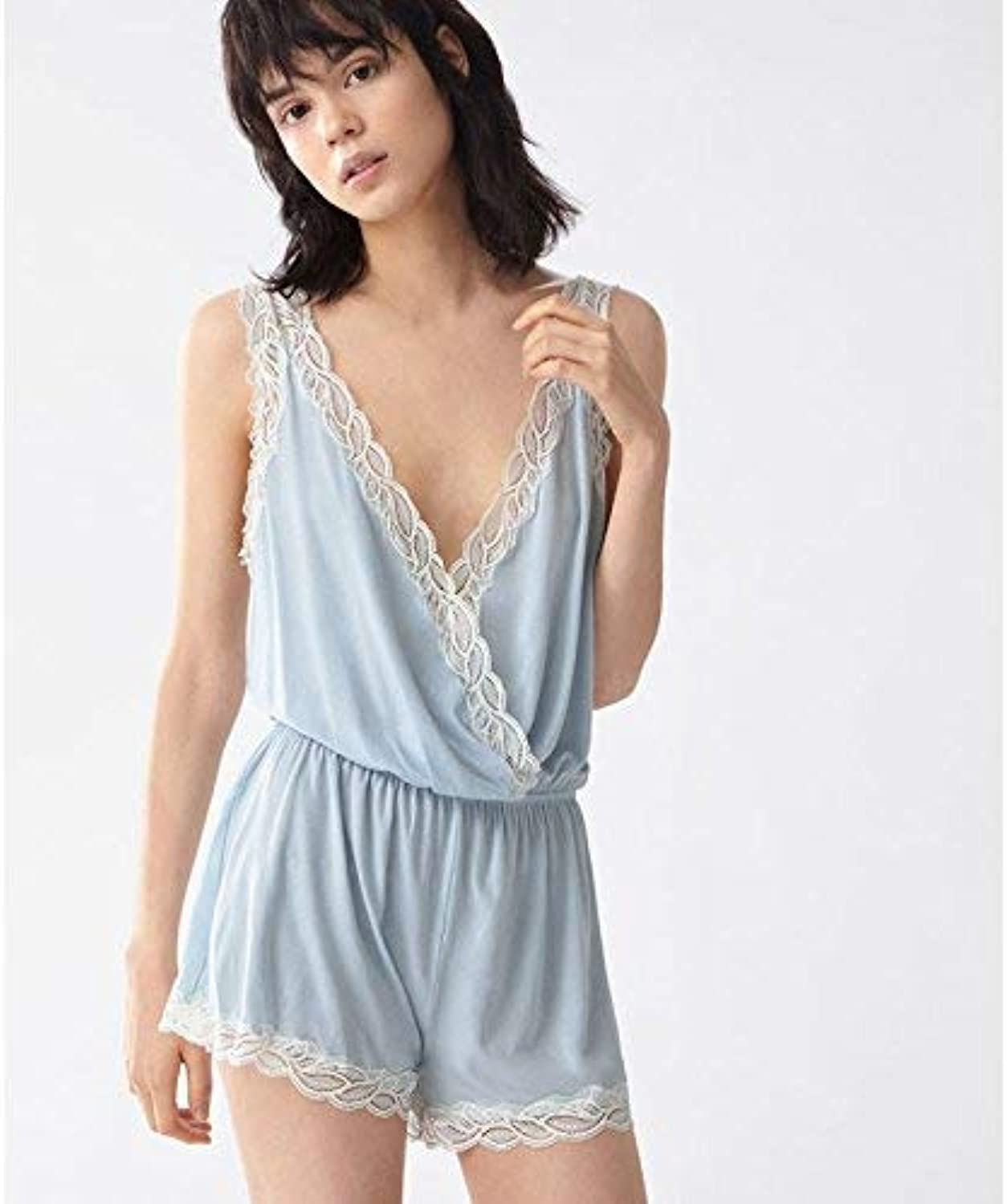 Leaf lace Sleeveless Jumpsuit Home Ladies Pajamas Summer Shorts (color   Sky bluee, Size   Medium)