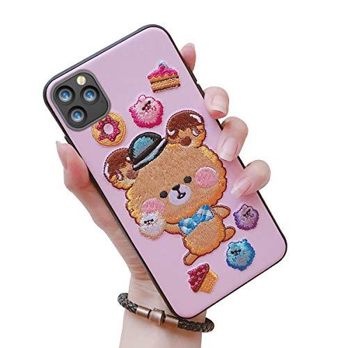 Oihxse Tasche für iPhone 11 Hülle,Case mit 3D Stickerei+Microfaserinnenfutter Ultra-Slim,Dünne im Vintage Look Stoßfest,Anti-Fingerabdruck,Anti-Scratch Bumper Cover für iPhone 11 (Blume 7)