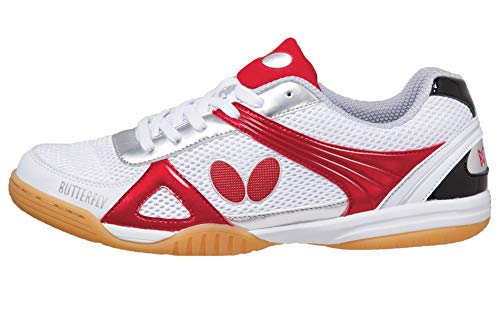 Butterfly Lezoline Trynex Table Tennis Shoes with Superior Grip - Stylish Shoes for Ping Pong - White & Blue or White & Red Shoes – Men or Women Sneakers, 28