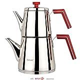 Stainless Steel Turkish Teapot Samovar - 18/10 Hsr Premium Quality Stove Top Kettle Inox Medium Size 2 Lt (Red)