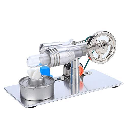 Modelo de motor Mini Stirling, Modelo de enseñanza de laboratorio de motor de vapor de física con motor Stirling tipo T con bombilla LED multicolor, Juguete educativo para niños y adultos