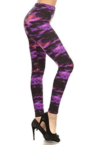 R555-OS Purple Galaxy Print Fashion Leggings