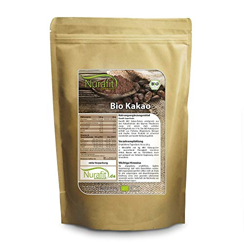 Nurafit BIO Kakao-Pulver, stark entölt mit 11% Fettanteil, Rohkostqualität aus Kakaobohnen, Cacao Vegan Superfood, 500g / 0.5kg