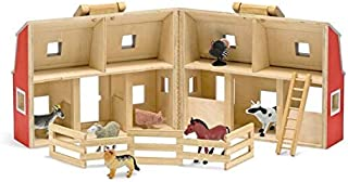 Melissa & Doug Fold & Go Wooden Barn Farm Blocks 36-Piece Play Set + Free Scratch Art Mini-Pad Bundle [37006]