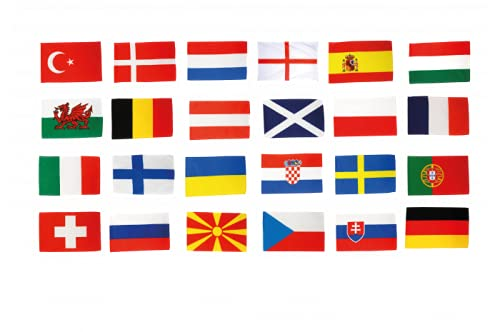 EM Flaggen Set Fußball 2021 Fahnen Set Aller 24 Teilnehmer 30 x 45 cm + gratis Digni® Sticker