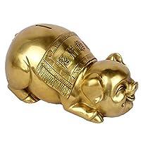 WEI-LUONG 彫刻、純銅風水ラッキーゾディアック豚動物モデルホームデコレーションヴィンテージ彫刻アールデコ調の工芸品リビングルームの装飾本棚クリエイティブデスクトップの彫像 ハロウィン装飾