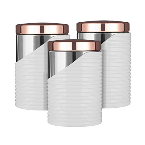 Tower Linear Set of 3 Storage Canisters, Stainless Steel, White and Rose Gold