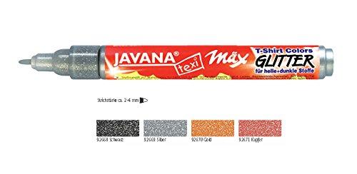 Javana Stoffmalstifte glitter 4er Set für dunkle und helle Stoffe, Stoffmaler silber, gold, schwarz und kupfer