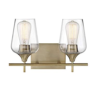 """Modern Farmhouse 2-Light Industrial Bathroom Vanity Light Over Mirror, Wall Sconce for Makeup Dressing Table, Bath Bar Clear Glass Shade, in a New Brass Finish (9.5"""" H x 14"""" W)"""