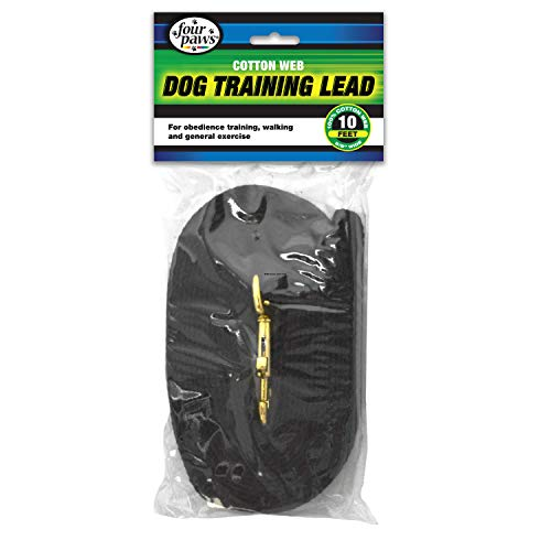 Four Paws Cotton Web Dog Lead Black 10 Feet