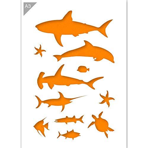 Qbix Fish Stencil - Shark Stencil - Dolphin Stencil - Sea Star Stencil - Turtle Stencil - A3 Size - Reusable Kids Friendly DIY Stencil for Painting, Baking, Crafts, Wall, Furniture