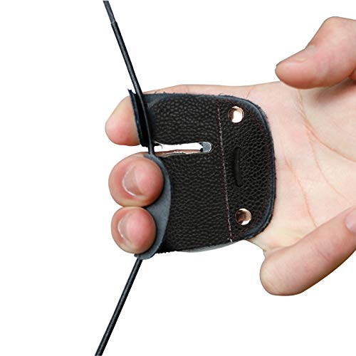 Archery Finger Guard Protection Pad Double-Layer Leather Protective Gears...
