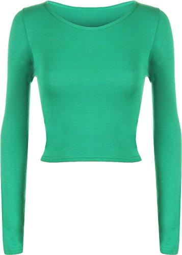 WearAll - Neu Damen Cropped Langarm T Shirt Kurz Schmucklos Rundhalsausschnitt Top - Jade - 36 / 38
