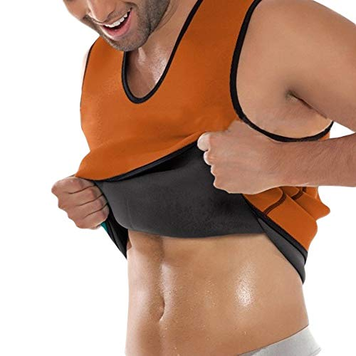 Rugsteungordel Mannen Undershirt Body shirt Slimming Underwear T-shirt Zwart Shapewear Man shirt Slim shirt for Weight Loss Body Shirt brace Lumbale (Color : Orange, Size : L)