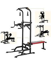 Pull up bar krachtstation verstelbaar fitnessbank halterbank multifunctioneel gymstick weight bench verstelbaar met krachttrainingstoestellen voor thuisgymnastiek, inclusief trainingsbanden, belastbaarheid tot 200KG