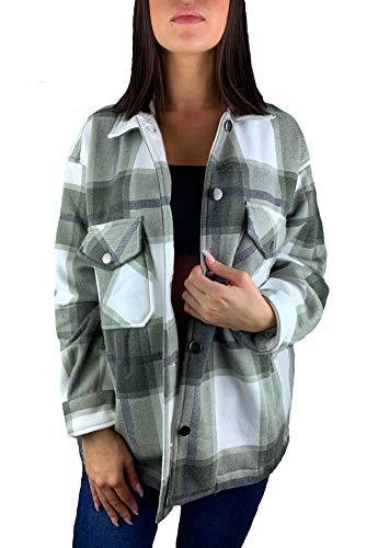Worldclassca Damen OVERSIEZED KARO Hemd HEMDJACKE KARIERT HOLZFÄLLERHEMD LANGARMHEND MIT Brusttaschen HEMDBLUSE Bluse Shirt Designer Blogger NEU S-L 36-42 (S, Muster 5)