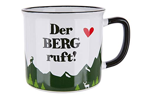 Gilde - 46907 - Kaffeebecher, Der Berg ruft!, Keramik, Emailledesign, 9,5cm x 8,5cm, 390ml