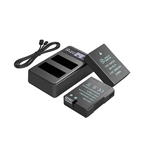 PHOTO MASTER EN-EL14 EN-EL14a Batería Reemplazo (2 Pack, 1200mAh) y LCD Doble Cargador para Nikon D5500, D5300, D5200, D5100, D3500, D3300, D3200, D3100, DF, COOLPIX P7800, P7700, P7100, P7000