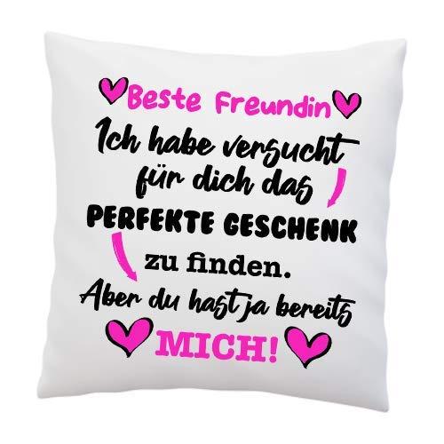 Kissen mit Spruch - ''Beste Freundin, Ich Habe versucht für Dich das perfekte.''- Deko-Kissen - weiß 40cm x 40cm - Liebe - optimales Geschenk - Überraschung - Geburtstag - Weihnachten