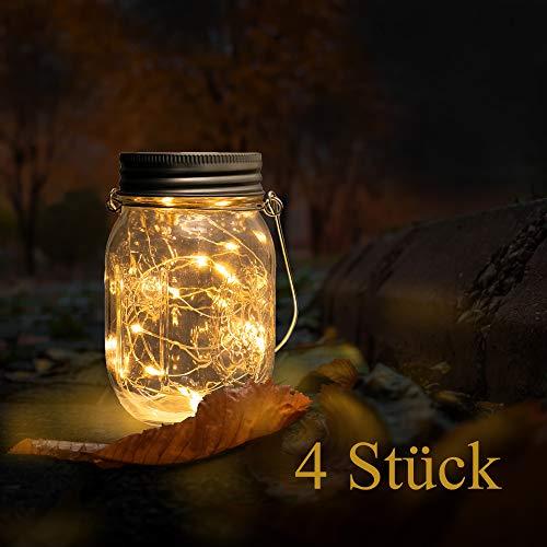 Beslands Solar Mason Jar Light Led Jar Solar Glas 20 LED 4 Pack Lampen Weihnachten Dekorative Beleuchtung für Glas Mason Jar Hängen Laterne Licht Garten Patio (Mason Jar Included)