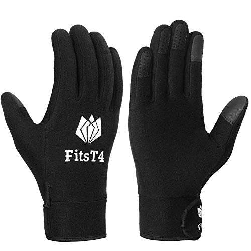 FitsT4 Field Player Gloves Soccer Touchscreen Field Gloves for Football, Soccer, Rugby Black M