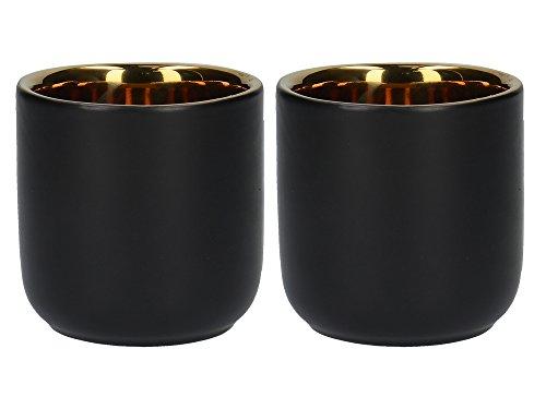 La Cafetière Edited Wärmeisolierte Kaffeetassen aus Keramik, 110 ml – Mattschwarz/Gold (2er-Set)
