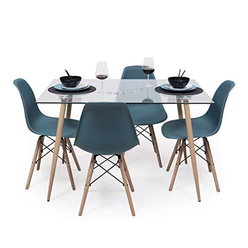 Conjunto de Comedor de diseño nórdico Cairo Tower Mesa de Cristal 120x80 cm y 4 sillas Tower (Turquesa)