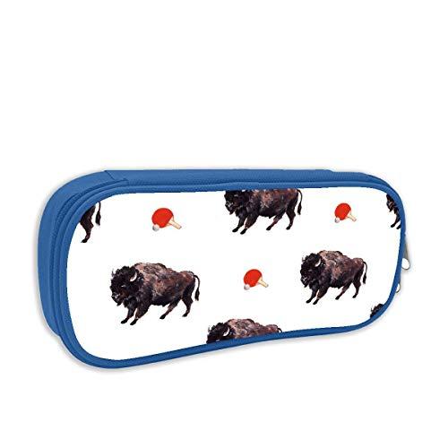 Lawenp Stampa Pencil Bag Buffalo Ping-Pong Seamless Art Portamatite portatili Pouch Cartoleria Organizer Case con cerniera