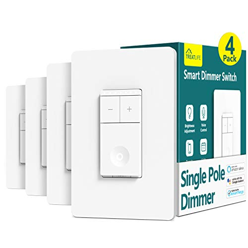 Smart Light Switch Treatlife Dimmer Light Switch, 4 Pack, Works with Alexa and Google Assistant, Neutral Wire Needed, 2.4Ghz Wi-Fi, Schedule, Remote Control, Single Pole, FCC Listed