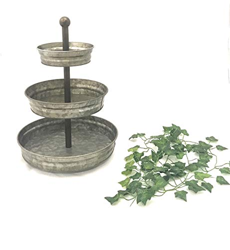 Galvanize Your Home 3 Tier serving tray galvanized farmhouse stand with 6' ft of Artificial Ivy
