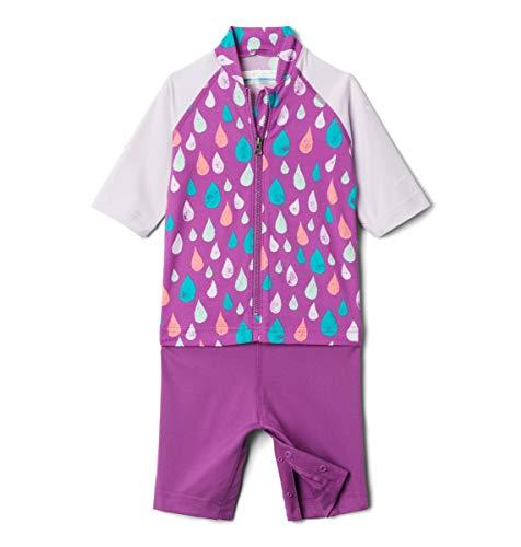 Columbia Youth Sandy Shores Sunguard Suit, Sun Protection, Moisture Wicking, Berry Jam Rain Drops/Pale Lilac, 4T