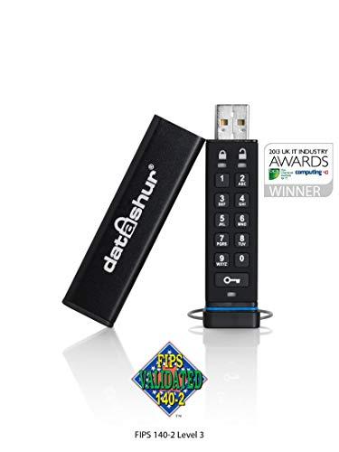 iStorage datAshur 256-bit 16GB USB 2.0 secure encrypted flash drive IS-FL-DA-256-16