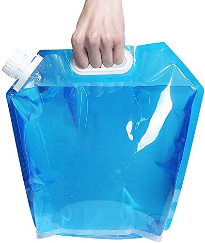 WWJQ Recipiente de Agua de 5L 10L, Bolsa de Almacenamiento de Agua Freezable, Contenedor Portador de Agua Plegado Plano y Sin Fuga, Envase de Agua de Plástico Plegable, 2Pcs