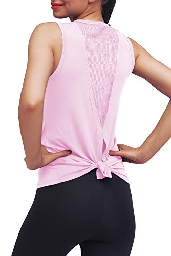 Mippo Workout Tops for Women Mesh Yoga Tops Workout Clothes Sleeveless High Neck Open Back Workout Shirts Tie Back Running Tank Tops Loose Fit Exercise Sports Gym Tops for Women Pink M