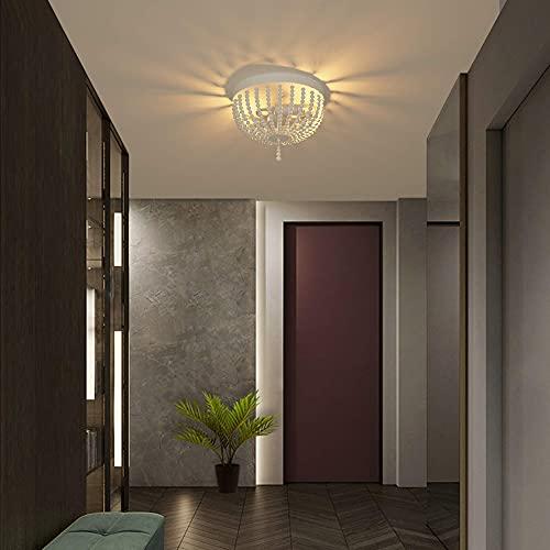 Wayrank Luz de Techo con 2 E14 Luces, Cuentas de Madera Candelabro Bohemias, Lámparas de Araña Decorativas Retro para Entrada, Pasillo, Dormitorio