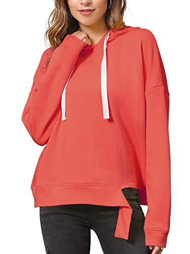 MessBebe Kapuzenpullover Damen Hoodie Oversize Langarm Sweatshirt Casual Lose Einfarbig Pullover mit Knoten Tunnelzug für Frühling Herbst Winter