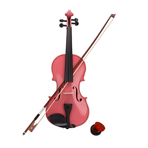 New Acoustic Violin Case Bow Rosin Pink Hot (1/4)