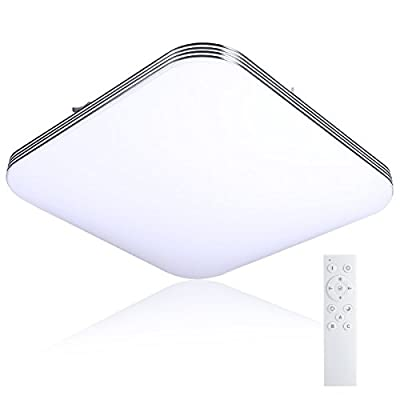 B-right LED Ceiling Light Remote Control, 13inch 20W (120W Equivalent), Square Surface Mount Lighting Fixture for Living Room, Bedroom, Dimmable & 3 Colors Available