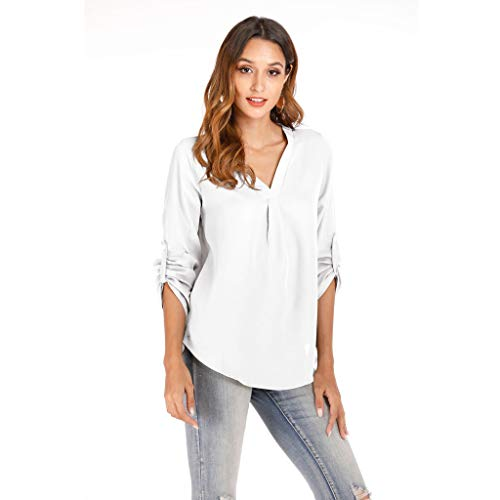 TOPSELD Damen Bluse Basic Casual Hemd V-Ausschnitt Horn Hülse Tops 3/4 Ärmel Tunika 6 Farbe