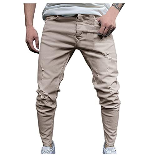 Briskorry Jeanshosen Herren Denim Hose Stretch Destroyed Jeans Regular Slim Fit Enge Jeans Vintage Freizeit Basic Washed Denimhosen Lang Skinny Hosen Mode Pants
