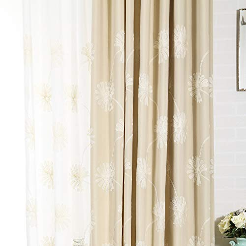 VOGOL(2 Panels Floral Patten Embroidered Elegant Faux Linen Grommet Curtains/Thermal Insulated 60% Blackout/Heavy Drapes for Bedroom/Living Room,Energy Efficient Window Treatment Panels,52 x 96 Inch
