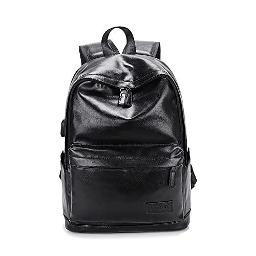 Mochila de laptop de cuero con la mochila de la escuela resistente al agua de carga USB con el almacenamiento transpirable, regalos de correa de hombro acolchados para hombres mujeres (15.6 'negro)
