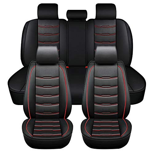 ASSIALL Set coprisedili per auto New Gen Universale in ecopelle 5D Full Surround Protezioni per sedili resistenti all'usura impermeabili Interni auto (nero con cuciture rosse, set completo)