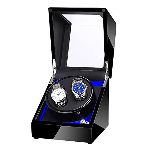 GUOYUN Cajas Giratorias 5 Modos para Relojes Caja Relojes Automaticos Caja De Relojes Mecánicos Caja Bobinadora (Color : Black+Black+LED, Size : 2+0)