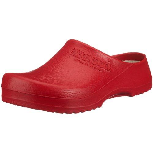 BIRKENSTOCK Unisex-Erwachsene Super Birki Damen und Herren Clogs, Arbeits-Clogs,Pantoletten mit Kork-Latex-Fußbett, Sandalen Rot, EU 39