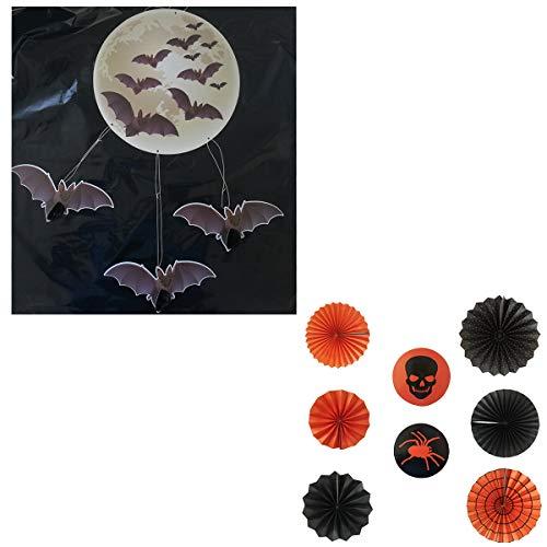 Cisne 2013, S.L. Pack de Seis guirnaldas + Murciélagos colganes para decoración Halloween. Guirnaldas Fiesta para Colgar de Papel Redondas Calavera Araña. Naranjas y Negras