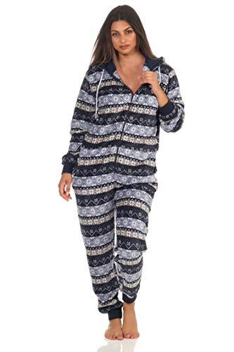 Damen Jumpsuit Overall Schlafanzug Norweger-Look, Overall mit Kapuze - 291 267 97 959, Farbe:Marine, Größe2:40/42